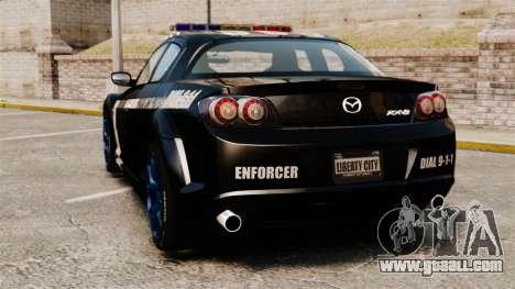 Mazda RX-8 R3 2011 Police for GTA 4 back left view