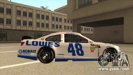 Chevrolet SS NASCAR No. 48 Lowes white for GTA San Andreas back left view