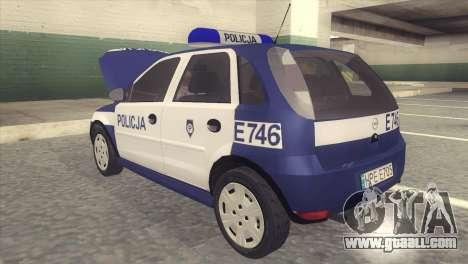 Opel Corsa C Policja for GTA San Andreas back left view
