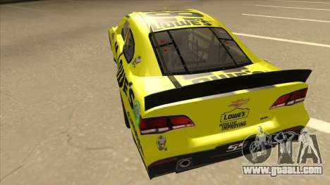 Chevrolet SS NASCAR No. 48 Lowes yellow for GTA San Andreas back view