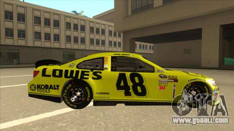 Chevrolet SS NASCAR No. 48 Lowes yellow for GTA San Andreas back left view