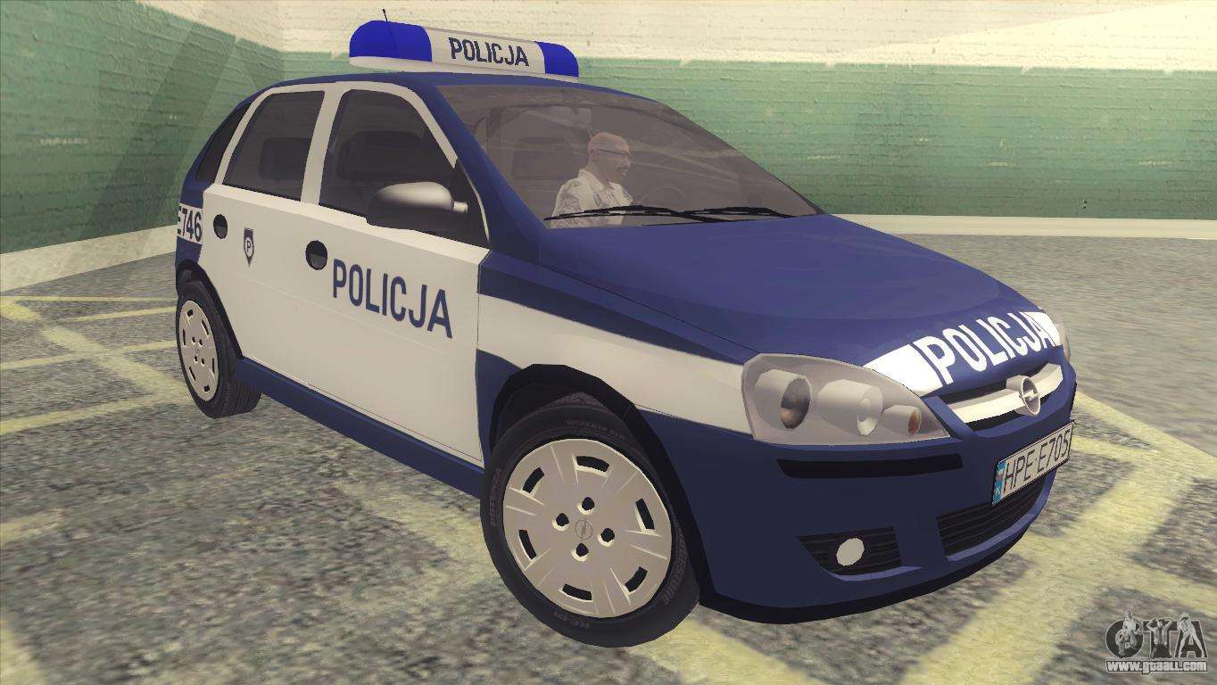opel corsa c policja for gta san andreas. Black Bedroom Furniture Sets. Home Design Ideas