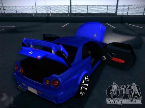 Nissan Skyline GTR for GTA San Andreas bottom view