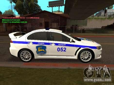 Mitsubishi Lancer X Police for GTA San Andreas back view