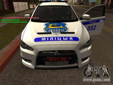 Mitsubishi Lancer X Police for GTA San Andreas inner view