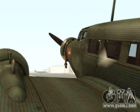 Junkers Ju-52 for GTA San Andreas back view