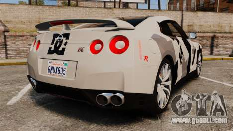 Nissan GT-R Black Edition 2012 Ski Slope Camo for GTA 4 back left view