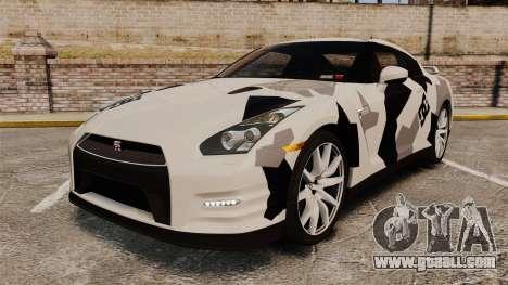 Nissan GT-R Black Edition 2012 Ski Slope Camo for GTA 4