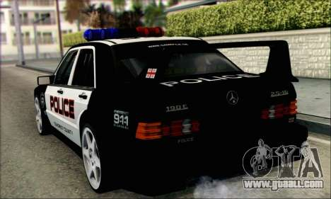 Mercedes-Benz 190E Evolution Police for GTA San Andreas back left view