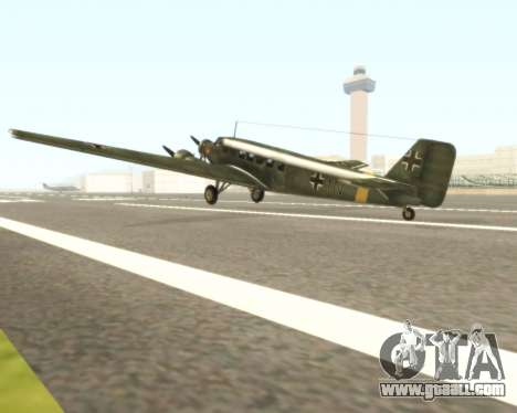 Junkers Ju-52 for GTA San Andreas back left view