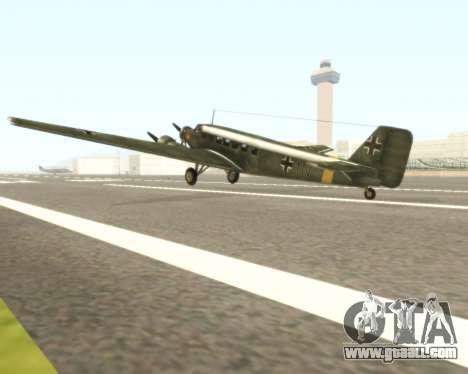Junkers Ju-52 for GTA San Andreas back left view
