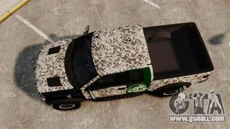 Ford F-150 SVT Raptor 2011 ArmyRat for GTA 4 right view
