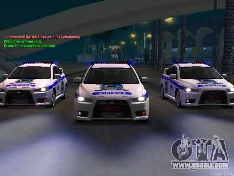 Mitsubishi Lancer X Police for GTA San Andreas left view
