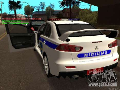 Mitsubishi Lancer X Police for GTA San Andreas right view