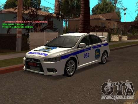 Mitsubishi Lancer X Police for GTA San Andreas