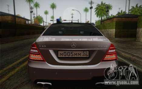 Mercedes-Benz S65 AMG for GTA San Andreas back view