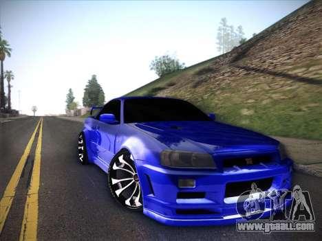 Nissan Skyline GTR for GTA San Andreas back view