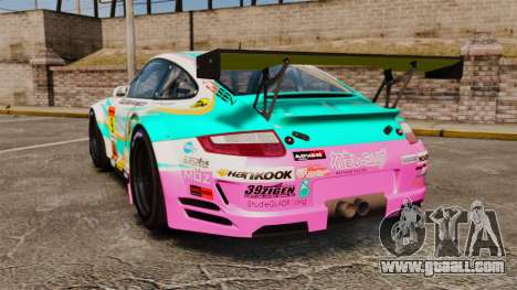Porsche GT3 RSR 2008 Hatsune Miku for GTA 4 back left view