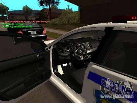 Mitsubishi Lancer X Police for GTA San Andreas back left view