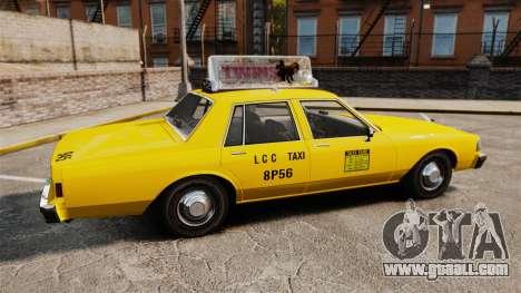 Chevrolet Caprice 1987 L.C.C. Taxi for GTA 4 left view