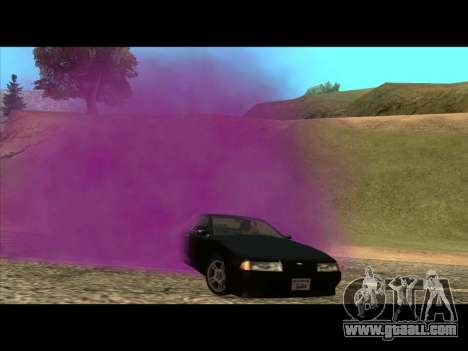 The new color of smoke from under the wheels for GTA San Andreas