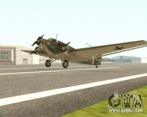 Junkers Ju-52 for GTA San Andreas left view