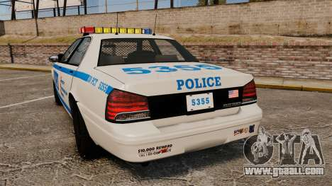 GTA V Vapid Police Cruiser NYPD for GTA 4 back left view