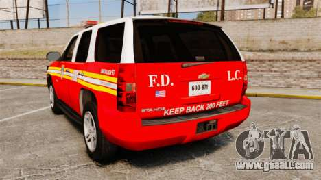 Chevrolet Tahoe Fire Chief v1.4 [ELS] for GTA 4 back left view