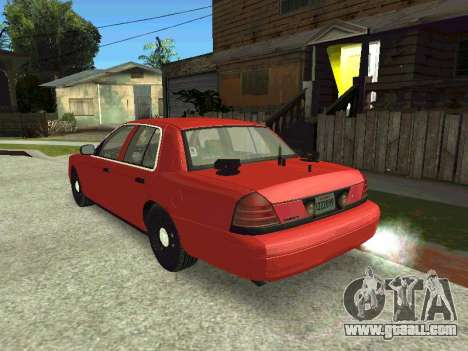 Ford Crown Victoria Unmarked Police for GTA San Andreas back left view