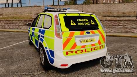 Ford Focus Estate 2009 Police England [ELS] for GTA 4 back left view
