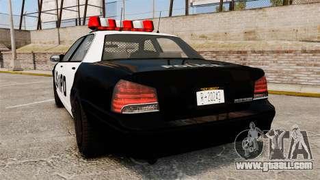 GTA V Vapid Police Cruiser LSPD for GTA 4 back left view