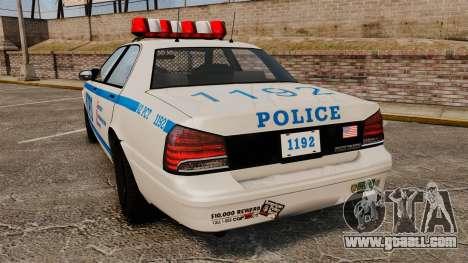 GTA V Police Vapid Cruiser NYPD for GTA 4 back left view
