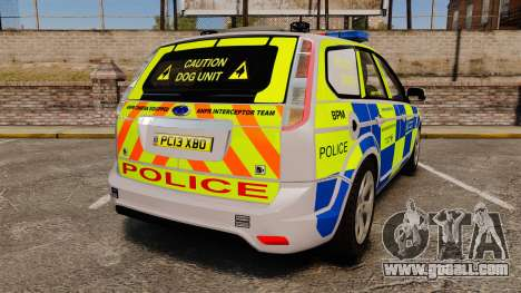 Ford Focus Estate Metropolitan Police [ELS] for GTA 4 back left view