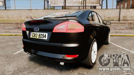 Ford Mondeo Unmarked Police [ELS] for GTA 4 back left view
