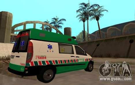 Mercedes-Benz Vito Ambulancia ACHS 2012 for GTA San Andreas back view