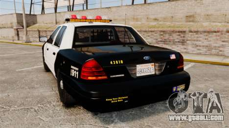 Ford Crown Victoria 1999 LAPD & GTA V LSPD for GTA 4 back left view