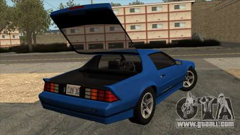 Chevrolet Camaro IROC-Z 1990 for GTA San Andreas inner view
