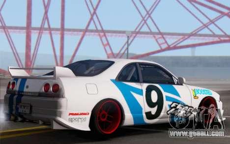 Nissan Skyline R33 for GTA San Andreas back left view