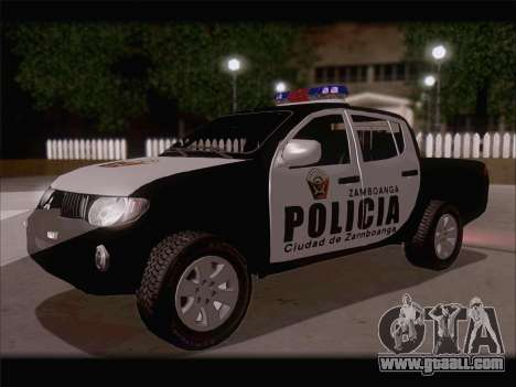 Mitsubishi L200 POLICIA for GTA San Andreas back left view
