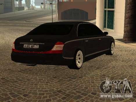 Maybach 62 V2.0 for GTA San Andreas back left view