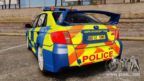 Subaru Impreza WRX STI 2011 Police [ELS] for GTA 4 back left view