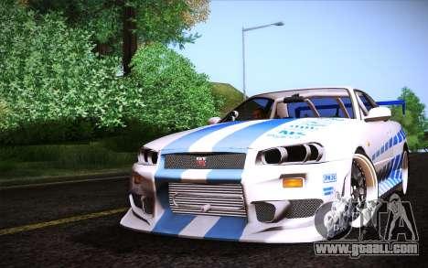Nissan Skyline R34 FnF for GTA San Andreas
