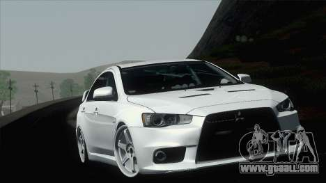 Mitsubishi Lancer X Evolution for GTA San Andreas inner view