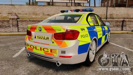 BMW F30 328i Metropolitan Police [ELS] for GTA 4 back left view