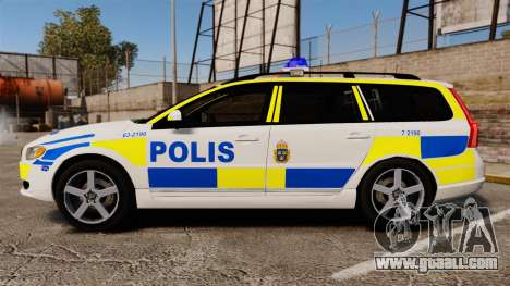 Volvo V70 II Swedish Police [ELS] for GTA 4 left view