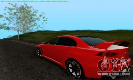 Mitsubishi Lancer X Evolution for GTA San Andreas engine