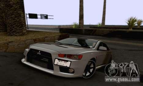 Mitsubishi Lancer X Evolution for GTA San Andreas interior
