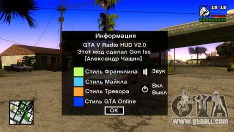 GTA 5 Radio HUD for GTA San Andreas second screenshot