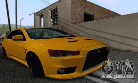 Mitsubishi Lancer X Evolution for GTA San Andreas back view