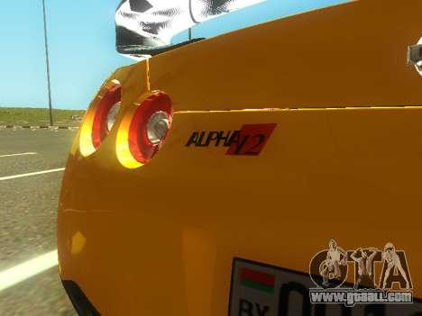 Nissan GT-R AMS Alpha 12 for GTA San Andreas inner view